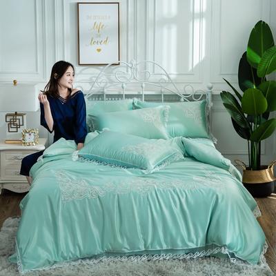 2019新款绣花款水洗真丝四件套 1.8m(6英尺)床 薄荷绿