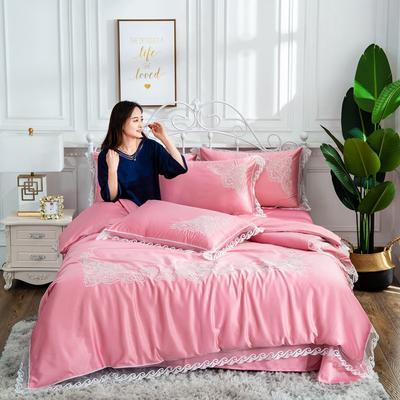 2019新款绣花款水洗真丝四件套 1.8m(6英尺)床 粉色