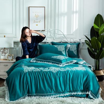 2019新款绣花款水洗真丝四件套 1.8m(6英尺)床 墨绿色
