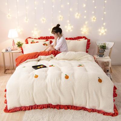 2019新款法莱绒舒棉绒花边款四件套-白景 1.2m床单款三件套 甜柚蜜橙