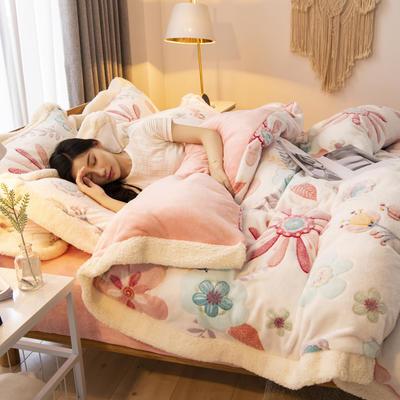 2019新款法莱绒雪花绒花边款四件套 1.2m床单款三件套 爱丽丝梦境
