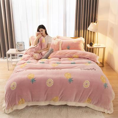 2019新款法莱绒雪花绒花边款四件套 1.2m床单款三件套 菠萝蜜