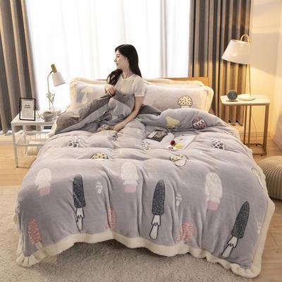 2019新款法莱绒雪花绒花边款四件套 1.2m床单款三件套 彩虹蘑菇