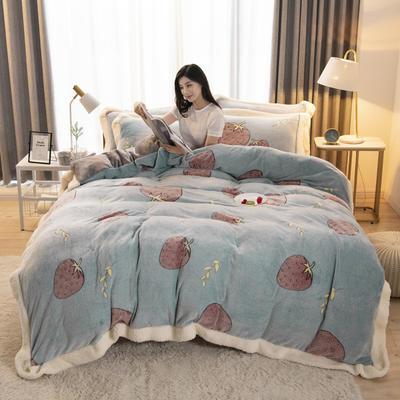 2019新款法莱绒雪花绒花边款四件套 1.2m床单款三件套 草莓爱心