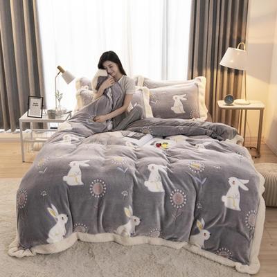 2019新款法莱绒雪花绒花边款四件套 1.2m床单款三件套 哈喽兔