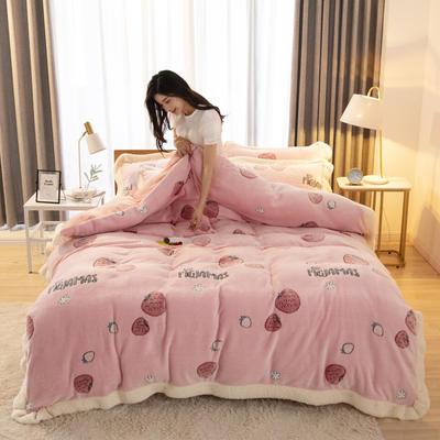 2019新款法莱绒雪花绒花边款四件套 1.2m床单款三件套 甜心草莓