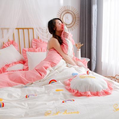 2020新款全棉水洗棉四件套-白景 1.5m床单款 彩虹-白