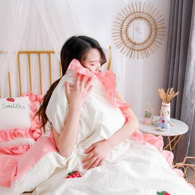 2020新款全棉水洗棉四件套-白景 1.5m床单款 草莓-白