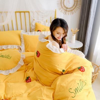 2020新款全棉水洗棉四件套-白景 1.5m床单款 草莓-黄