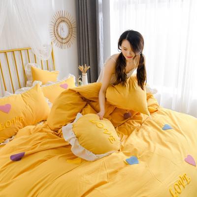 2020新款全棉水洗棉四件套-白景 1.5m床单款 初恋时光-黄