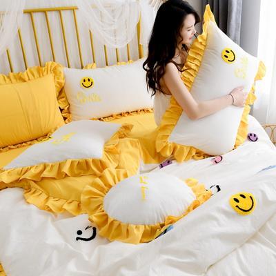 2020新款全棉水洗棉四件套-白景 1.5m床单款 笑脸-白