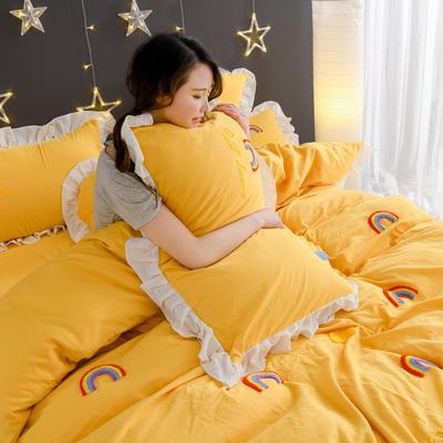 2020新款全棉水洗棉四件套-黑景 1.5m床单款 彩虹-黄