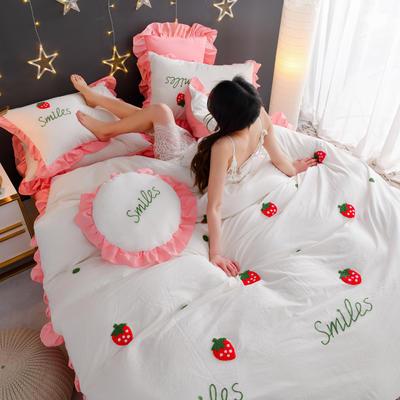 2020新款全棉水洗棉四件套-黑景 1.5m床单款 草莓-白