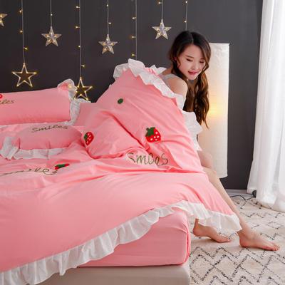 2020新款全棉水洗棉四件套-黑景 1.5m床单款 草莓-粉