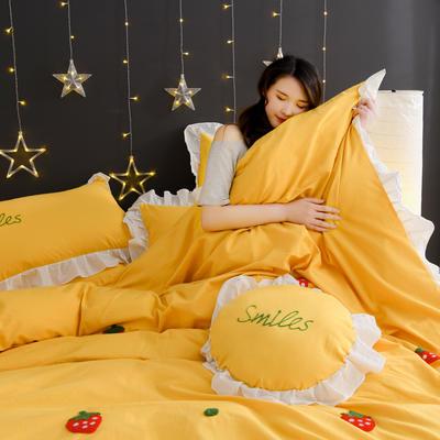 2020新款全棉水洗棉四件套-黑景 1.5m床单款 草莓-黄