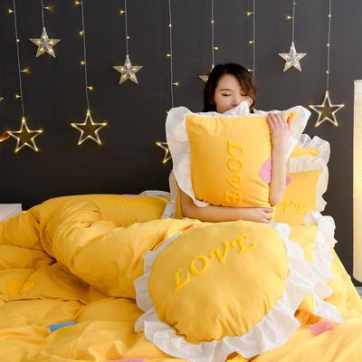 2020新款全棉水洗棉四件套-黑景 1.5m床单款 初恋时光-黄