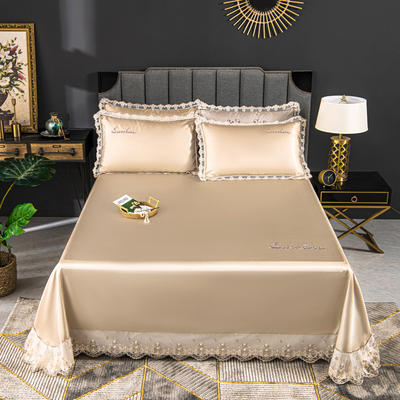 2020新款冰丝凉席花边刺绣款床单三件套 250×250三件套 玫瑰金