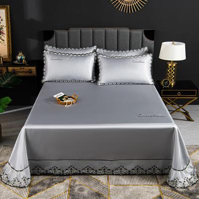 2020新款冰丝凉席花边刺绣款床单三件套 250×250三件套 绅士灰