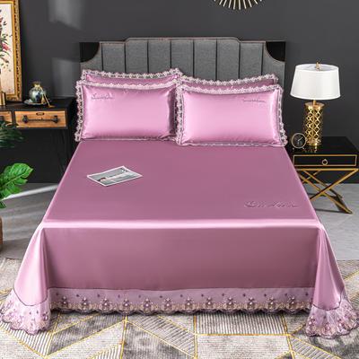 2020新款冰丝凉席花边刺绣款床单三件套 250×250三件套 紫罗兰