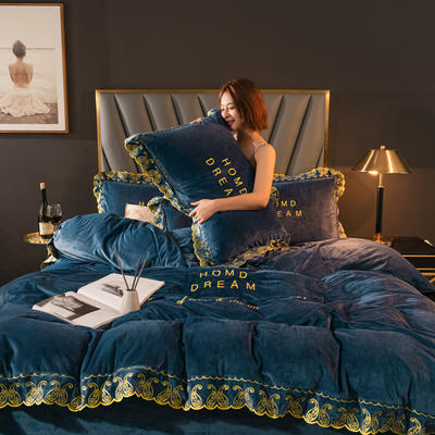 2020新款高克重宝宝绒花边刺绣款四件套 1.2m床单款三件套 安娜-蓝