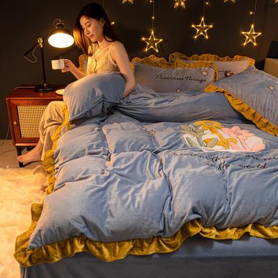 2020新款水晶绒贴布绣四件套 1.2m床单款三件套 3朵朵之恋-柏林蓝