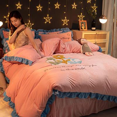 2020新款水晶绒贴布绣四件套 1.2m床单款三件套 5朵朵之恋-粉红