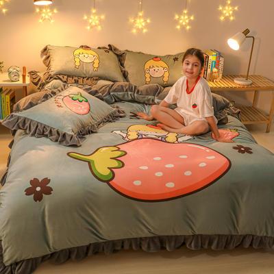 2020新款卡通水晶绒大版花系列四件套 1.2m床单款三件套 草莓女孩