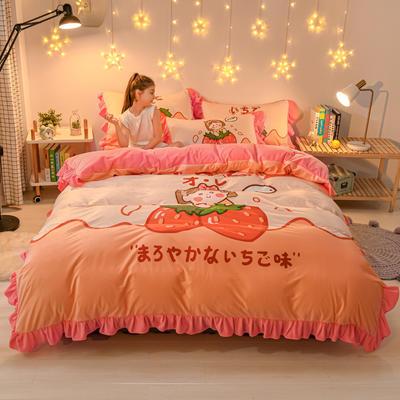 2020新款卡通水晶绒大版花系列四件套 1.2m床单款三件套 草莓少女