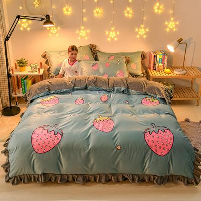 2020新款卡通水晶绒大版花系列四件套 1.2m床单款三件套 草莓庄园
