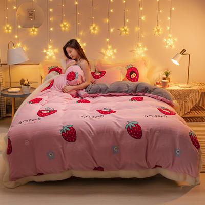 2020新款牛奶绒羊羔绒边印花系类四件套 1.2m床单款三件套 甜心草莓