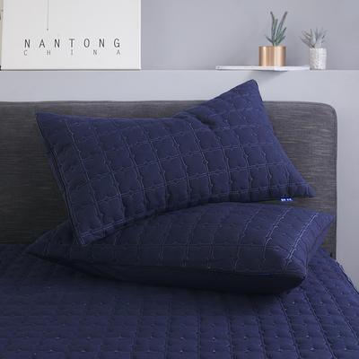 2019新款夾棉防水單枕套 48cmX74cm/對 藏青色