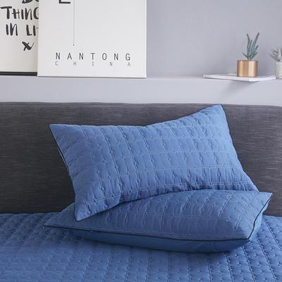 2019新款夾棉防水單枕套 48cmX74cm/對 幽夢藍
