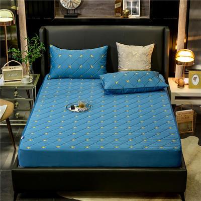 2020新款小黃蜂夾棉半包防水床笠 120*200+20cm 寶石藍
