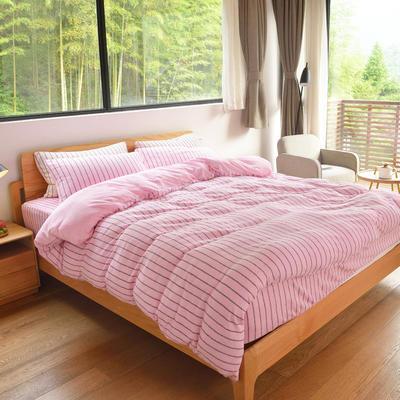 2020新款全棉毛巾四件套 1.2m床笠款三件套 粉色