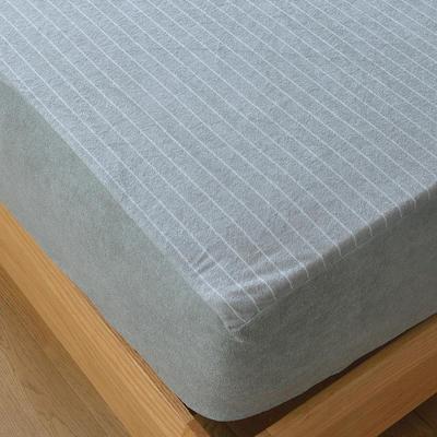 2020新款全棉毛巾條紋款全防水半包床笠 120*200+20cm 灰色