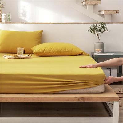 2020新款全棉水洗棉单层床笠 120*200+30cm 柠檬黄