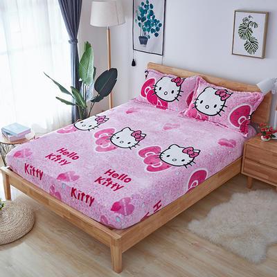 2019年秋冬茗婷法莱绒单品床笠 150cmx200cm 粉色猫咪