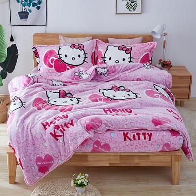 2019年秋冬茗婷法莱绒四件套 床笠款 1.5m(5英尺)床 床笠款 粉色猫咪