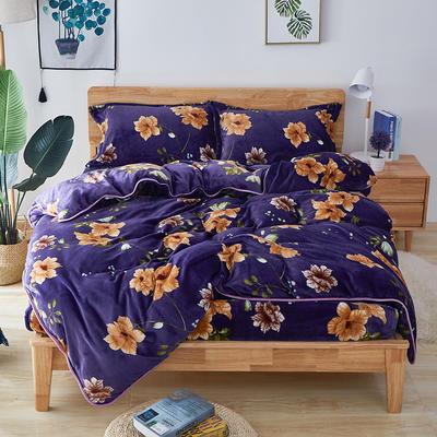 2019年秋冬茗婷法莱绒四件套 床笠款 1.5m(5英尺)床 床笠款 紫甜蜜花丛