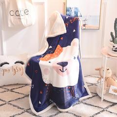 2019新款羊羔绒定位童毯 100*140cm 可爱小白熊