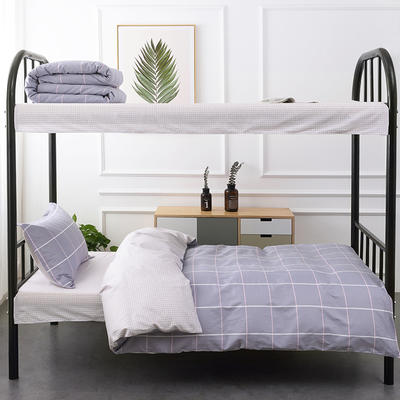 2019新款全棉13372小清新单人学生宿舍床三件套 1.2m床 格调-紫