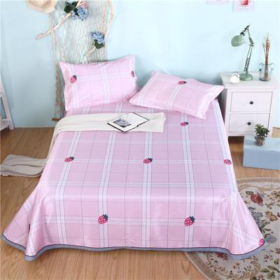 2019新款茗婷可水洗机洗冰丝席冰丝凉席床裙三件套 1.8*2.0m 甜蜜草莓粉