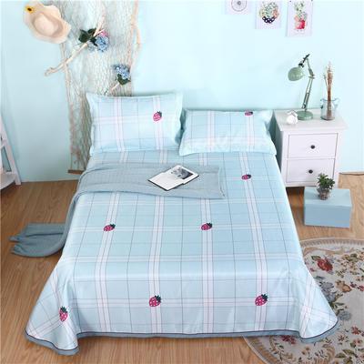 2019新款茗婷可水洗机洗冰丝席冰丝凉席床裙三件套 1.8*2.0m 甜蜜草莓蓝