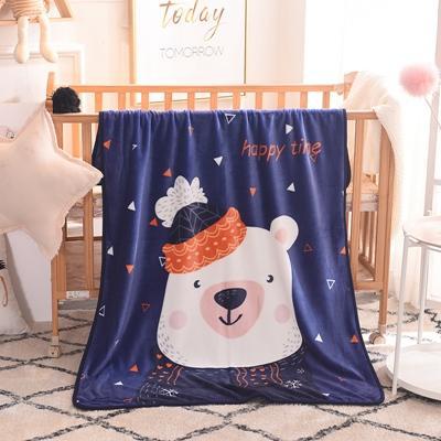 2019新款爆款单层定位超柔加厚云貂绒童毯 100*140cm 可爱小白熊