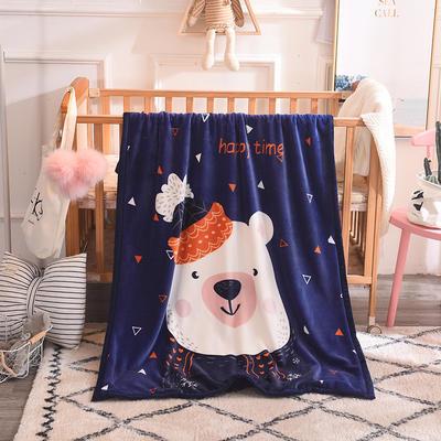 2019新款爆款双层定位儿童毯 100*140cm 可爱小白熊