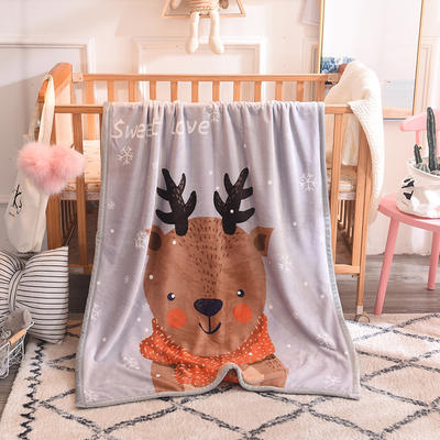 2019新款爆款双层定位儿童毯 100*140cm 小鹿角