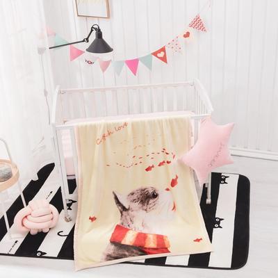 2019新款爆款双层定位儿童毯 100*140cm 幸福就是猫吃鱼
