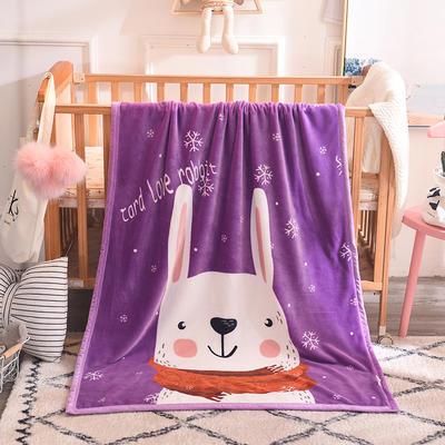 2019新款爆款双层定位儿童毯 100*140cm 长耳白兔