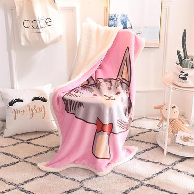 2019新款爆款羊羔絨兒童毯 100*140cm 領結貓咪