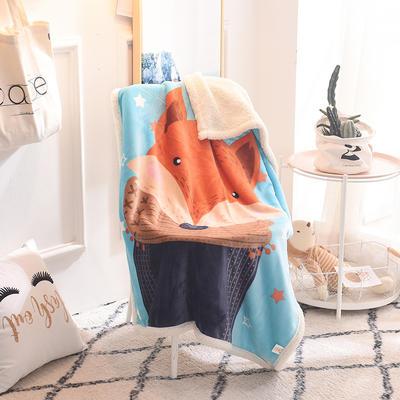 2019新款爆款羊羔絨兒童毯 100*140cm 圍巾狐貍